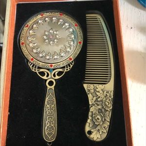 Vintage Small Hand Mirror and Comb Set